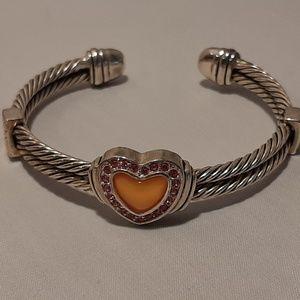 Designer Inspired Slip On Bracelet Pink Stones